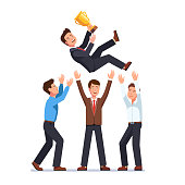 Group of business people celebrating success tossing in the air winner businessman holding golden cup. Flat vector clipart illustration.