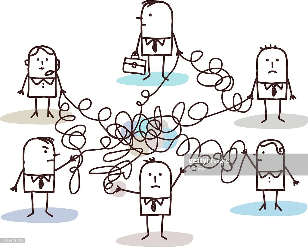 group of business people connected by messy lines