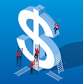 A group of business people trying to climb to the top of the dollar
