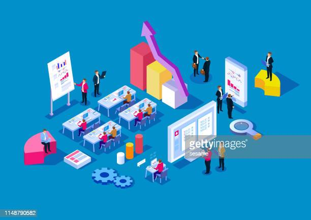 group of business people working in the office - finance and economy stock illustrations