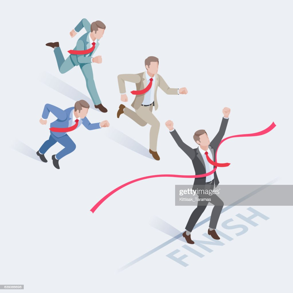 Group of businessman running at the finish line.