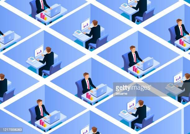 illustrations, cliparts, dessins animés et icônes de groupe d'hommes d'affaires au travail, gens d'affaires assis dans l'espace séparé travaillant - distanciation sociale