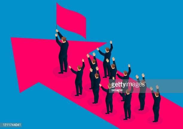 illustrazioni stock, clip art, cartoni animati e icone di tendenza di un gruppo di uomini d'affari segue il leader che tiene la bandiera e sta sulla freccia rossa - reggere