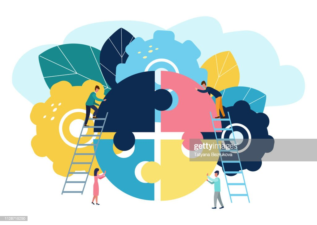 A group of businessmen involved in puzzle pieces, is to support the team, brainstorm or success : stock illustration