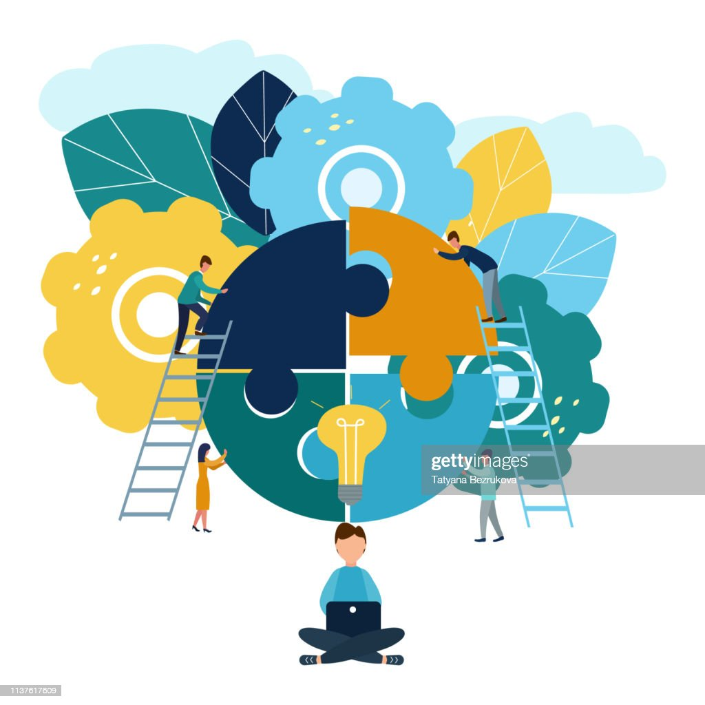 A group of businessmen involved in puzzle pieces, is to support the team, brainstorm or success, to find the perfect idea concept : stock illustration