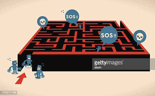 group of businessmen lost in a difficult maze - wrong way stock illustrations, clip art, cartoons, & icons