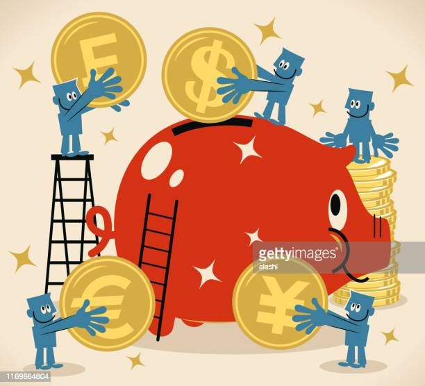 group of businessmen putting dollar, euro, franc and yen sign coin currency into a large piggy bank - franc sign stock illustrations, clip art, cartoons, & icons