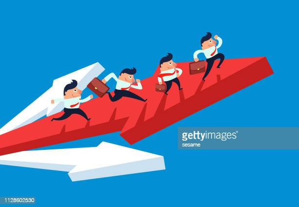 a group of businessmen sprinting up with red arrows - assertiveness stock illustrations, clip art, cartoons, & icons