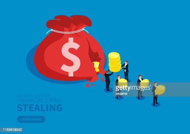 ビジネスマンのグループは壊れたお金の袋からお金を盗む - 不在点のイラスト素材/クリップアート素材/マンガ素材/アイコン素材