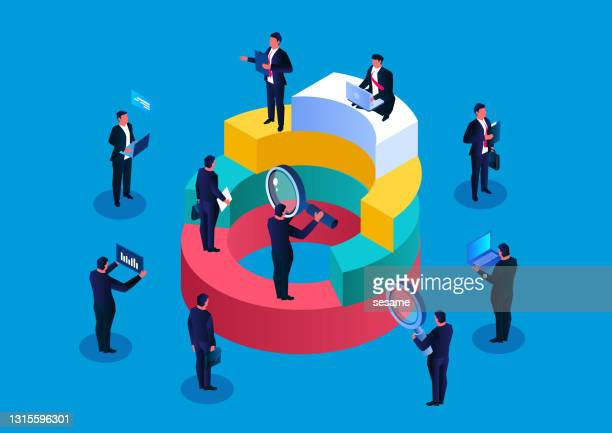 a group of businessmen work hard next to the pie chart, strive to make money to get profits - big tech stock illustrations