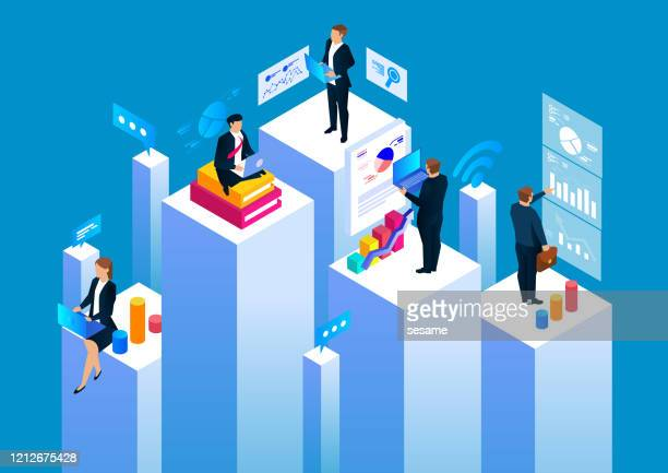 illustrazioni stock, clip art, cartoni animati e icone di tendenza di group of businessmen working in business space, statistical analysis and management - collezione