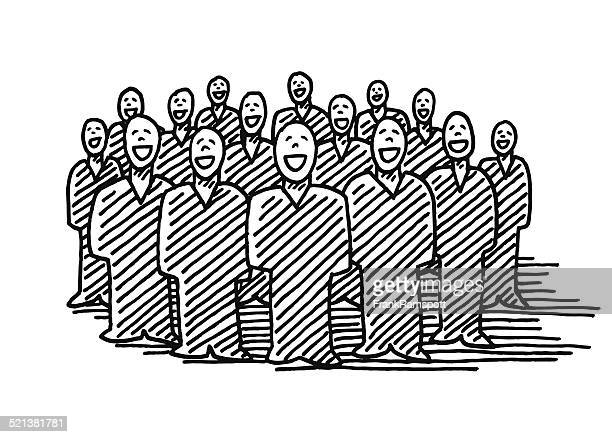 group of businesspeople teamwork drawing - only men stock illustrations