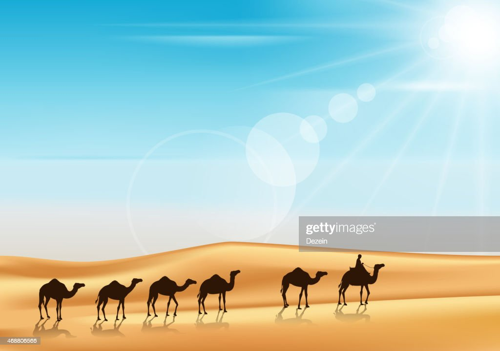 Group of Camels Caravan Riding in Realistic Wide Desert Sands