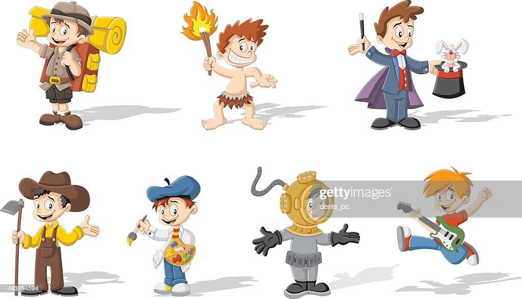 Group of cartoon boys