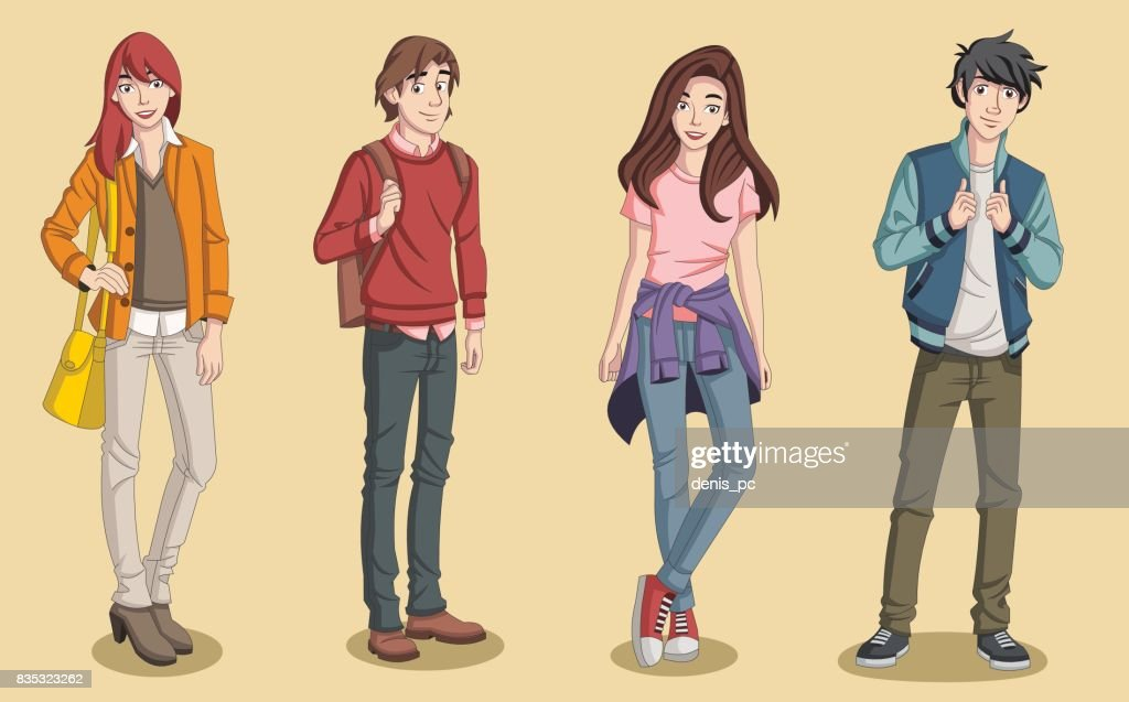 Group of cartoon young people.