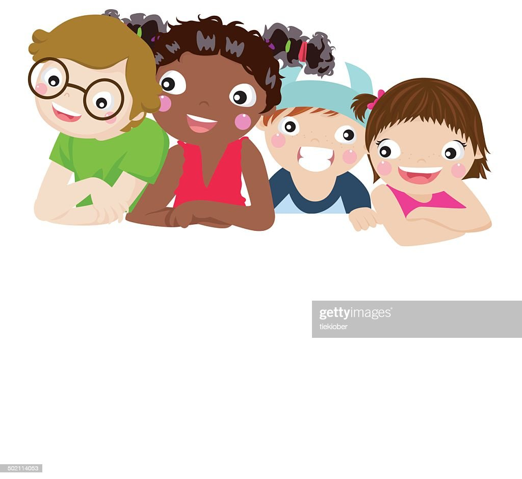 Group of children and banner