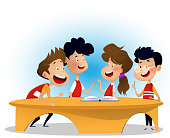 Group of children are discussing book in library