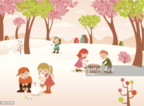 group of children finding easter eggs in colorful forest - easter egg hunt stock illustrations, clip art, cartoons, & icons
