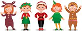 Group of children in costumes Christmas