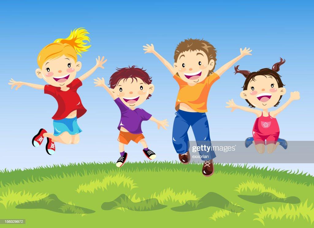 Grupo de niños de salto en resorte : Ilustración de stock
