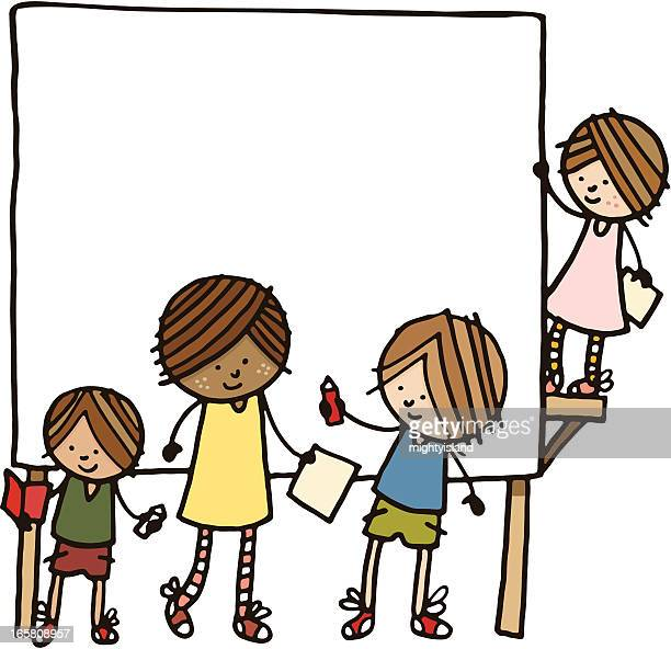 Group of children with a blank sign