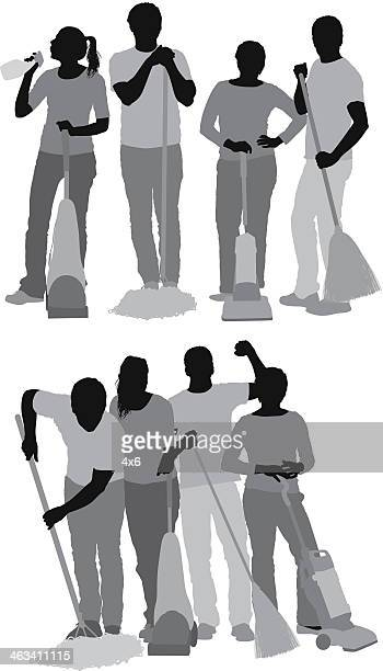 Group of cleaners