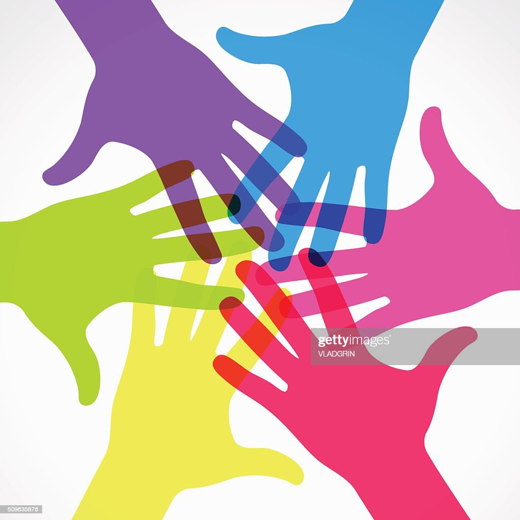 Group of colored raised hands.