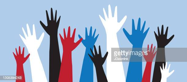 group of colorful multicultural protesters or activists hands in the air - unfairness stock illustrations