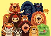 group of dangerous wild animals gathering