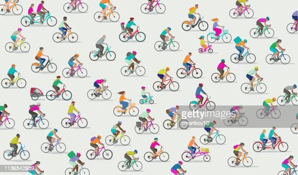 illustrations, cliparts, dessins animés et icônes de groupe de différents types de cyclistes - vtt