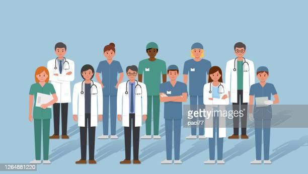 stockillustraties, clipart, cartoons en iconen met groep artsen en medisch personeel, voorraadillustratie. - medisch beroep