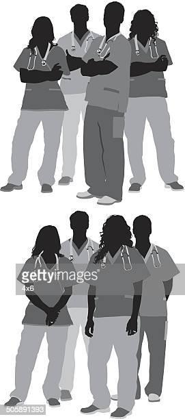 ilustraciones, imágenes clip art, dibujos animados e iconos de stock de grupo de médicos - enfermera