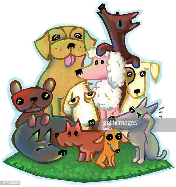 group of dogs - group of animals stock illustrations, clip art, cartoons, & icons