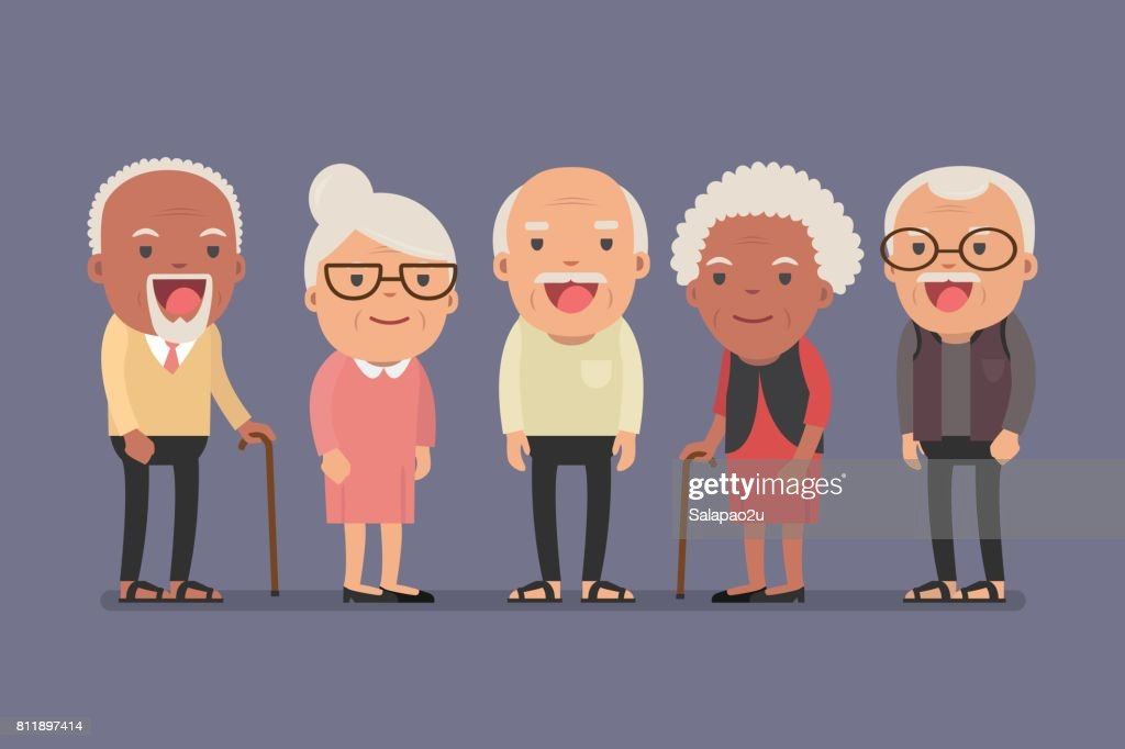 Group of elderly people stand together on background.