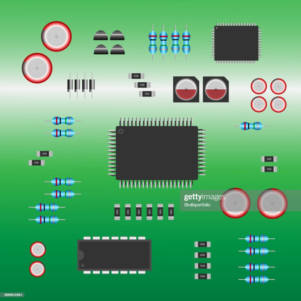 Group of Electronic parts installed on a green electronic circuit board