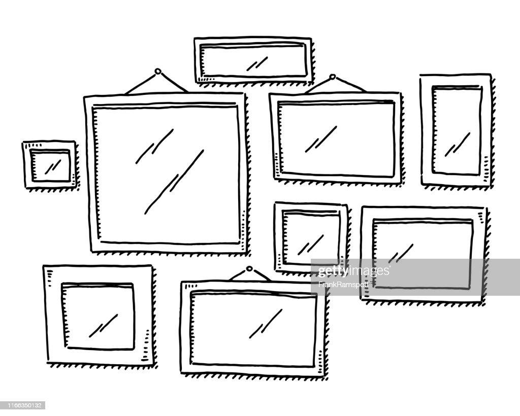 Gruppe leerer Bilderrahmen Zeichnung : Stock-Illustration