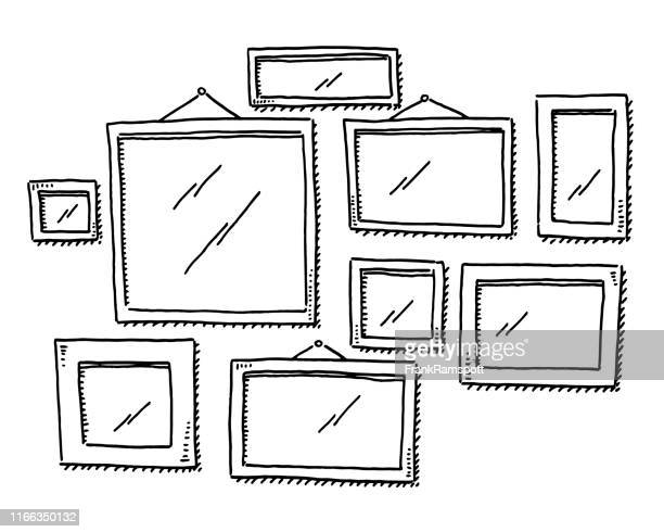 group of empty picture frames drawing - picture frame stock illustrations