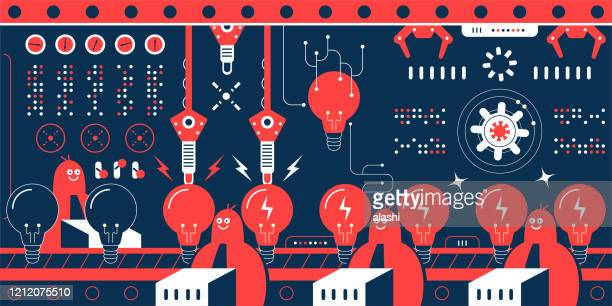 group of engineers (computer programmer, data scientist) work in a factory with production line that shows a row of great idea light bulbs - inventor stock illustrations