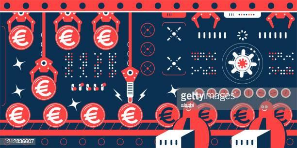 stockillustraties, clipart, cartoons en iconen met groep ingenieurs (financieel adviseur, zakenman) werken in een fabriek met productielijn die een rij euro teken europese unie muntmunten toont - group e