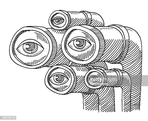 group of eyes observation drawing - big brother orwellian concept stock illustrations, clip art, cartoons, & icons