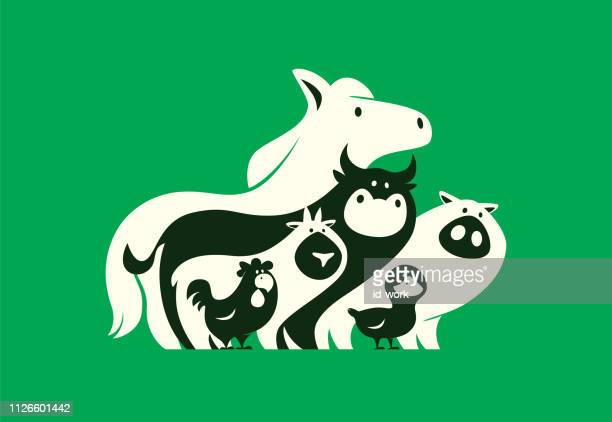 group of farm animals silhouette - livestock stock illustrations