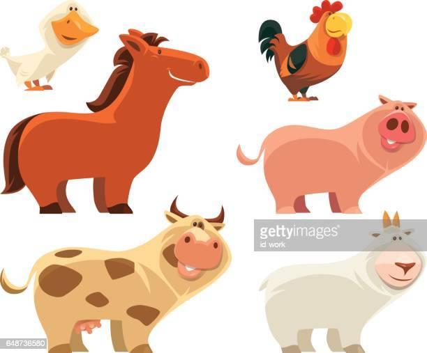 ilustraciones, imágenes clip art, dibujos animados e iconos de stock de grupo de animales de granja - grupo de animales