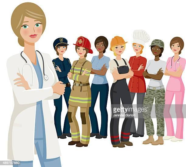 ilustrações de stock, clip art, desenhos animados e ícones de grupo de mulheres, várias profissões e etnia - loira