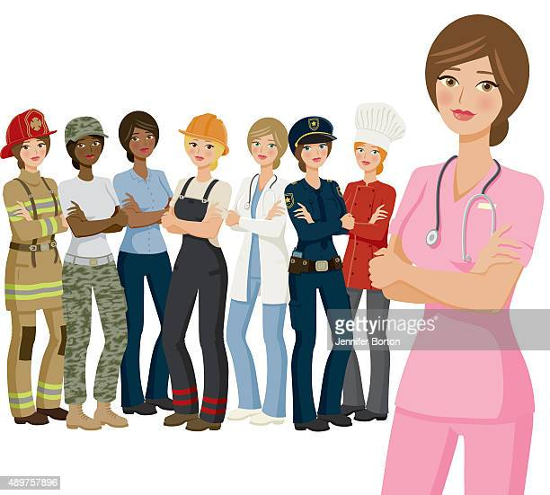 Group of Female Workers, Various Professions and Ethnicities