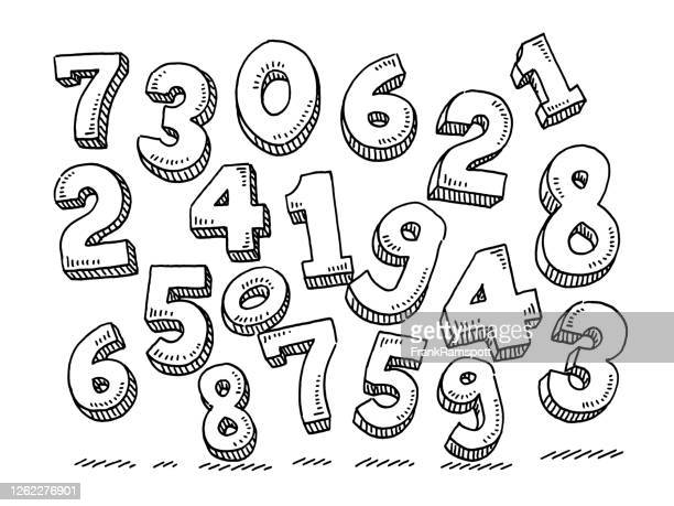 group of flying numbers drawing - number 2 stock illustrations