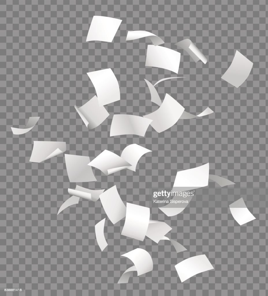 Group of flying or falling vector white papers isolated on transparent background