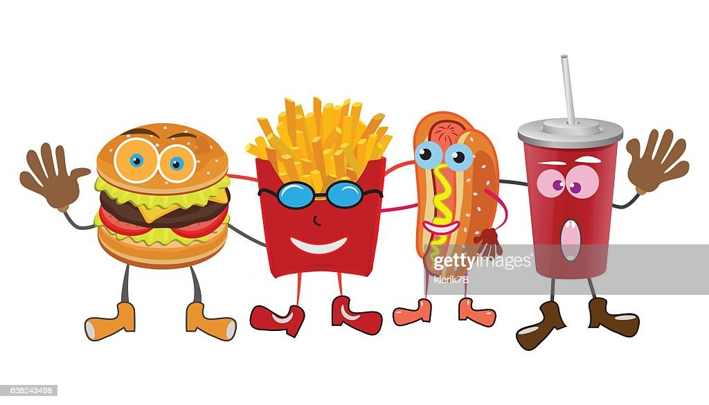 group of friendly Fast Food meals