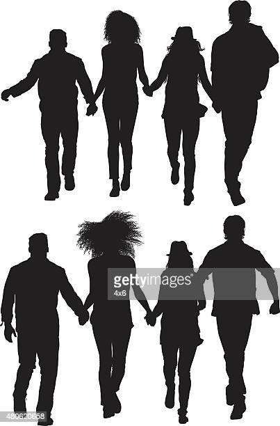 group of friends holding hands and walking together - boyfriend stock illustrations, clip art, cartoons, & icons