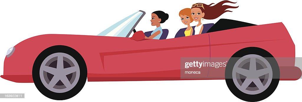 Grupo De Amigos En Una Red Convertible Car Ilustración De Dibujos