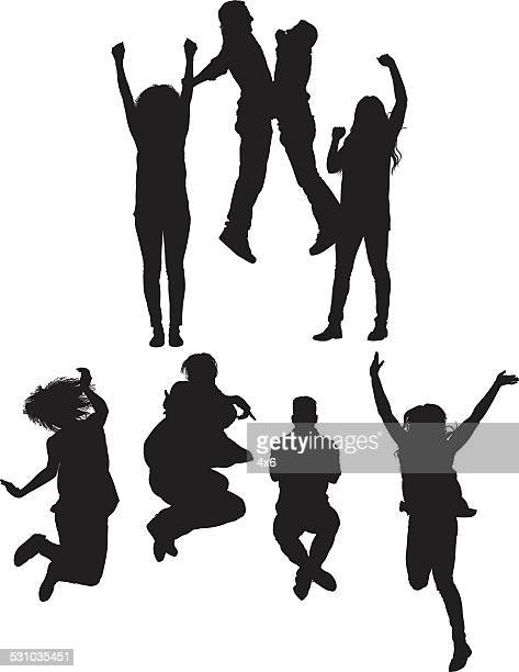 Group of friends jumping